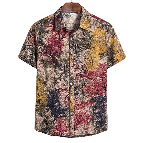 Camisetas Informales Ligeras para Hombre, Estilo étnico de Verano, Tallas Grandes, Manga Corta, con Estampado de teñido Anudado, Camisas con Cuello Vuelto M