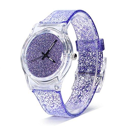 Orologi al quarzo da donna Orologi con cinturino in brillantina Orologio da polso quadrante rotondo Cinturino in plastica confortevole per orologio da polso da donna(Purple)