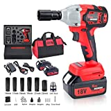 Cordless Impact Wrench with 2 Battery, 18V 5,000mAh Lithium Battery,...