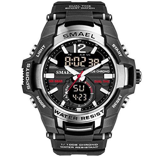 JTTM Relojes Deportivos para Hombre Resistente Al Agua Digital Militares Relojes Multifuncional Militar Reloj para Hombre,Black Silver