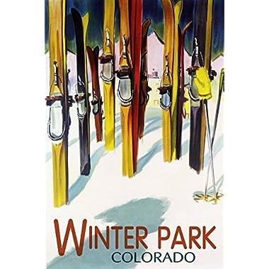 Winter Park, Colorado - Colorful Skis (9x12 Art Print, Wall Decor Travel Poster)