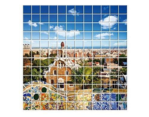 Mural de Azulejos Barcelona, Tile Size: 20cm x 20cm; Dimensions: 60cm x 60cm