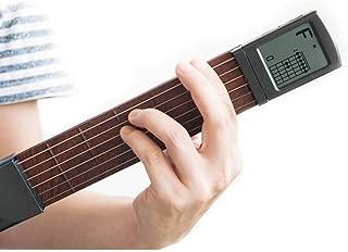 Langba コードトレーナー ギター練習ツール 回転可能スクリーン付き 6弦 ポケットギター ミニ 持ち運び便利 デジタル 和音チャート画面 保護袋付き 6フレット ギター弦トレーナー 初心者対応