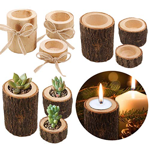 DODY Three-Piece Tea Light Candle Holders, Personalized Wooden Candle Holder, for Rustic Wedding Party Birthday Holiday, 2',2.4',2.7'