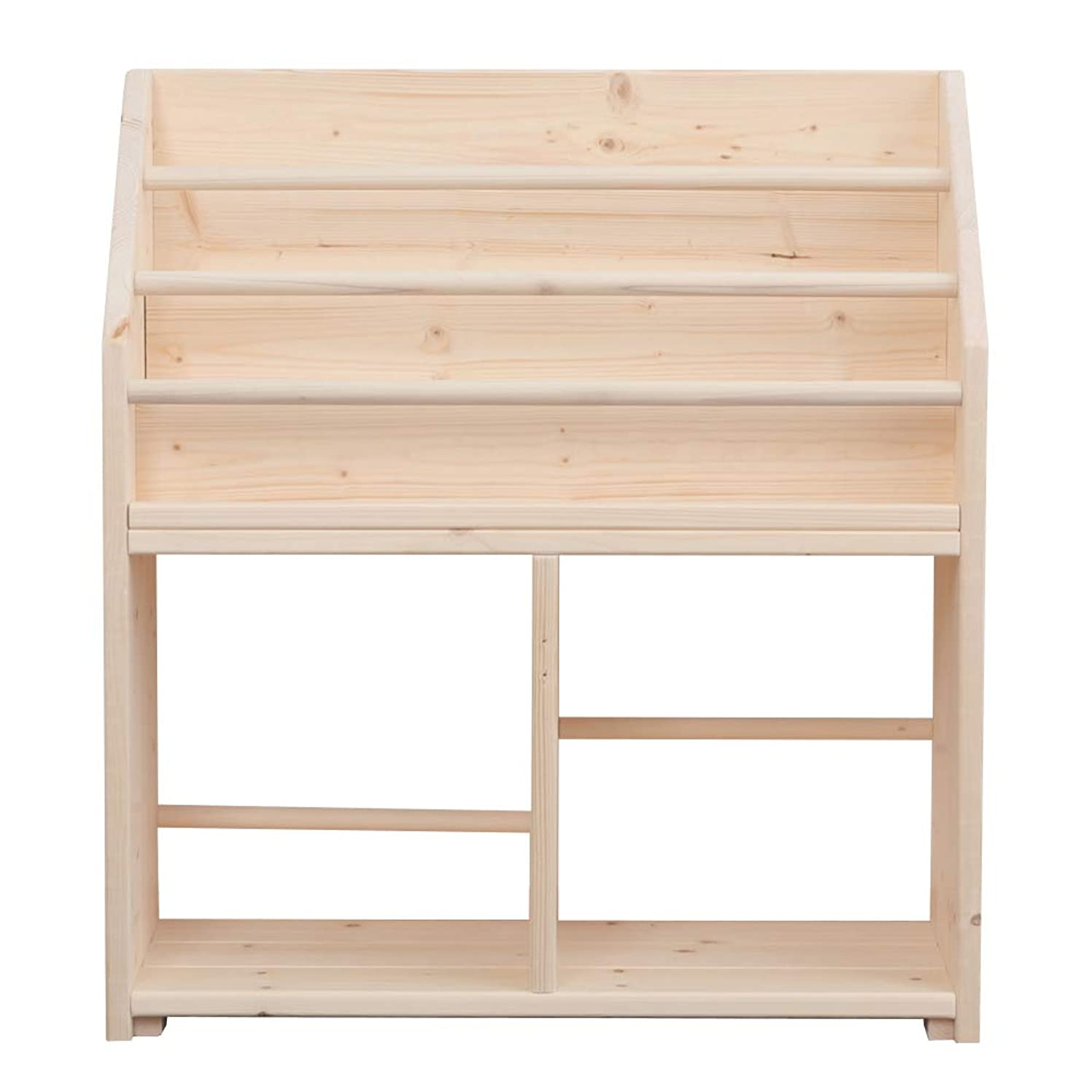 プラスチック羽寝室MakeWood ハンドメイド 完成品 W64cmC 絵本棚 こども 収納 ラック 薄型 絵本立て シンプル 無塗装 日本製 /W64C
