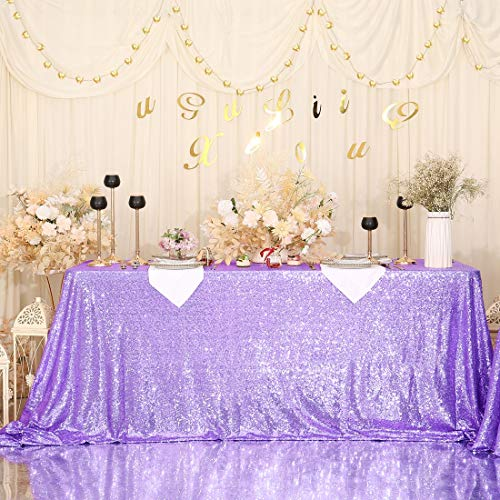 SquarePie Sequin Tablecloth Rectangular 60 x 102 Inch Lavender Reflect Lights Bling Sparkly Table Linen for Wedding Party