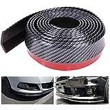 OurLeeme 2.5m / 8.2ft autocollant de voiture à lèvres Jupe protecteur en fibre de carbone avant de voiture à lèvres Pare-chocs de voiture en caoutchouc bande de 60 mm Largeur