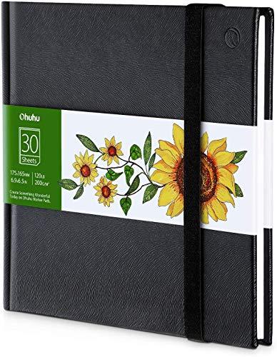 Ohuhu Skizzenbuch Zeichenblock Kunst, 175x165mm, tragbares quadratisches Format, 120 LB/200 GSM Schwere glatte Zeichenpapiere 30 Blatt/60 Seiten, Hardcover-Skizzenbuch, speziell für Alkohol-Markierer