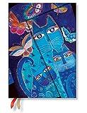 Paperblanks Terminplaner 2019 mit Lesebändchen & Innentasche, Katzen in Blau mit Schmetterlingen, Woche für Woche horizontal, Midi, 180 x 130 mm