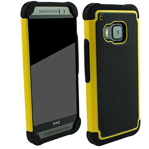 Outdoorschutzhülle für HTC ONE M9 Hülle Gelb inkl. Pnzerglas 9H transparent Outdoor Cover Hybrid Schutz Hülle Sturz Bumper Folie Schwarz Black Yellow