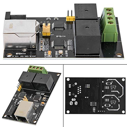 Oumefar Placa de relé Ethernet con tarjeta de relé a Internet, interruptor remoto, tarjeta relé controlador Ethernet de 2 vías TCP/IP para control inteligente de la casa para STM32 Raspberry