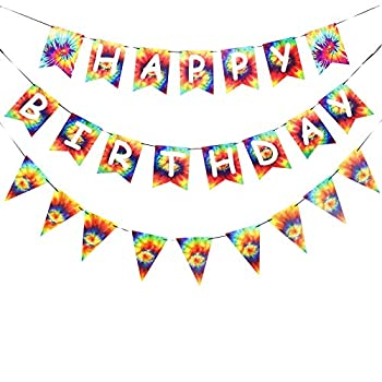 Tie Dye Happy Birthday Banner Pennant Birthday Party Background Banners for 60s 70s Theme Hippie Carnival Groovy Party Decorations Supplies Indoor/Outdoor Hanging Décor