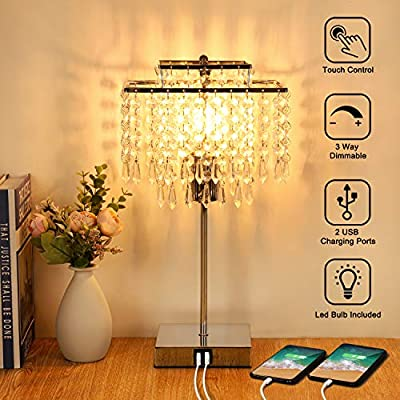 Crystal Table Lamp with Dual USB Fast Charging Ports 3-Way Dimmable Touch Control Bedside Light Decorative Nightstand Lamp for Living Bedroom Dining Study Room,T45 6W LED Bulb Included