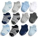 Yafane 12 Paar Baby Socken Antirutsch Anti-Rutsch Kinder Kleinkinder Babysocken für Baby Jungen & Mädchen (Jungen, 1-3 Jahre)
