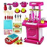 LIKJ Juego De Juguetes De Cocina, Juguetes De Accesorios De Cocinas, Juego De Simulación para Niños Pequeños(Cocina Rosa)