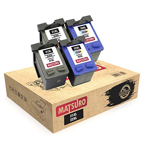 Matsuro Original | Compatible Remanufactured Cartuchos de Tinta Reemplazo para HP 21XL 22XL (2 Sets)