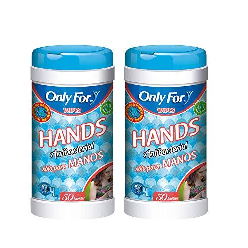 Toallitas Sanitizantes para Manos 100 pzs Only For 2 Pack: Incluye 2 botes de 50 toallitas Antibacteriales con Aloe Vera para el cuidado de tu piel.