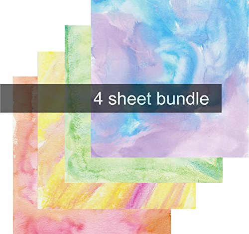 Watercolor Vinyl Sheets, Patterned Vinyl, Purple Blue Green Yellow, Adhesive Vinyl, 4-12'x12' Pack