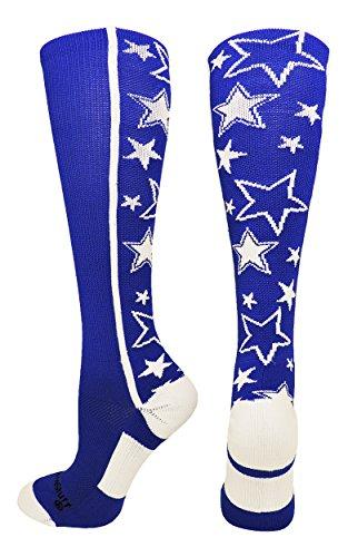 MadSportsStuff Crazy Socks with Stars Over The Calf Socks (Royal/White, Small)