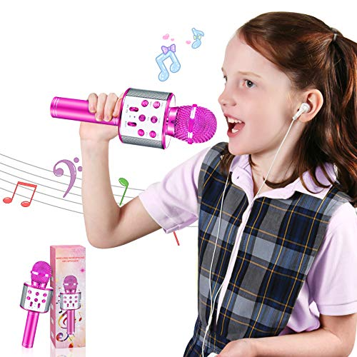 HahaGift Toys for 7 8 9-10 Year Old Girls Gifts, Kids Portable Bluetooth Karaoke Singing Microphone for 11-12 Year Old Girls, Christmas Birthday Gifts for 4 5-6 Year Old Girls Toys Age 4-12 Teens