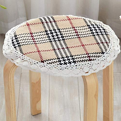 Set Of 4 Chair Cushions Round Non Slip Seat Cushion Lace Cotton Linen Seat Pad Round Four Season Round Stool Cushion Yoga Meditation Balcony Office (Color : K, Size : Diameter:50cm(20inch))