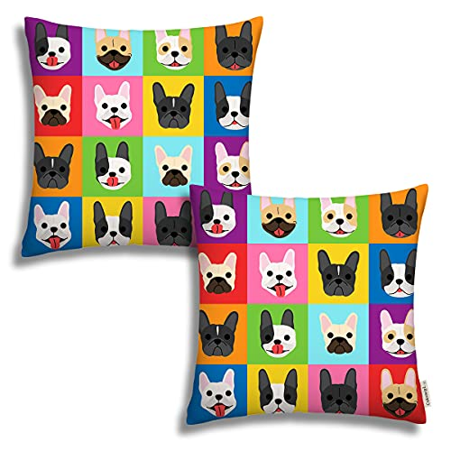 Set of 2 Throw Pillow Covers French Bulldog Faces Pillow Covers Home Decorative Pillow Cases Hidden Zipper 18' X 18' Cushion Covers for Patio Sofa Couch Car Living Room (2 Pack)