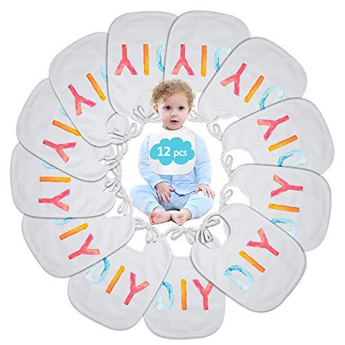 Lätzchen Baby zum Bemalen Set, ARPDJK 12 Stück Baumwolle Wasserdicht Unisex Babylätzchen Weiß zum Bemalen Graffiti und Handgemacht, Multipack DIY Lätzchen zu dekorieren