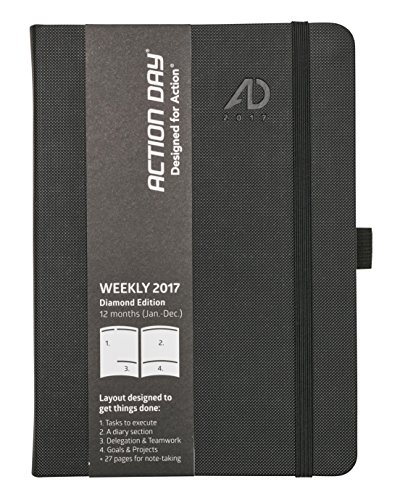 Action Day 2017 - World´s Best Action Planner - Layout Designed to Get Things Done - Weekly Daily Monthly Yearly Agenda, Calender, Appointment, Organizer & Goal Journal (6x8 / Thread-Bound/Black)