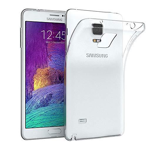 EAZY CASE Hülle für Samsung Galaxy Note 4 Schutzhülle Silikon, Ultra dünn, Slimcover, Handyhülle, Silikonhülle, Backcover, Durchsichtig, Klar Transparent