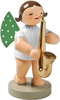 Wendt & Kuhn Brunette Hand Painted Grunhainichen Angel Saxophone Figurine