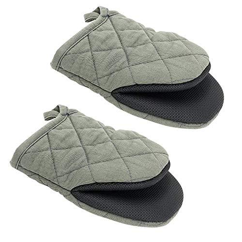 2 Mini-Ofenhandschuhe, rutschfeste Silikon- und Baumwollschutzmatte zum Kochen in der Küche, Grillen (grau)