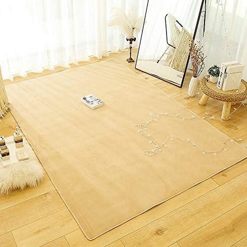 200cm AKEFG Coral Velvet Tatami Rugs Baby Safe Hairless Carpets Kids Playing Mats Non-slip Large Size Nursery Rugs for Living Room Baby s Bedroom,Camel,140
