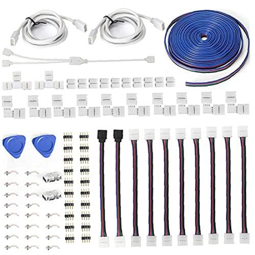 Conector de tira de LED Kits SolDerless RGB Extensión 4 Pin Conectores Male Conectores LED Accesorios de tiras LED proporciona la mayoría de las piezas para los accesorios de tira de DIY, LED