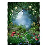 Kameng 60' x 80' Sofa/Bed Blankets Mushrooms Enchanted Forest Pattern Comfortable Warm Velet Plush Throw Blanket
