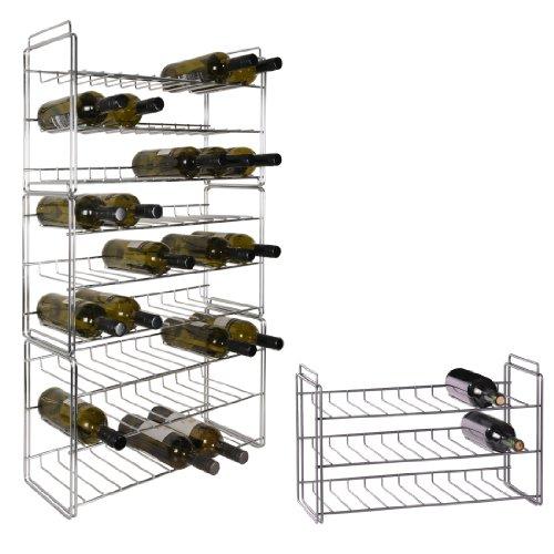 Weinregal / Flaschenregal System SAUVIGNON aus Metall, chrom, stapelbar / erweiterbar. Einzelregal für 18 Flaschen - H 35 x B 56 x T 22 cm
