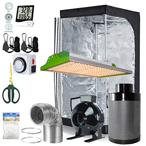 BloomGrow Alphapar New Tech Pro Full Spectrum Sunlike 100W LED Grow Light Kit + 32''x32''x63'' Grow Tent + 4'' Fan Filter Ventilation Kit Indoor Plant Growing Complete Package