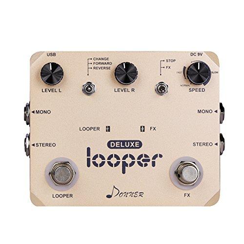 Donner - Deluxe Looper Pedal de Efectos para Guitarra True Bypass Looping Reverso Velocidad Adjustable