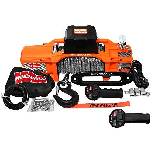 Winchmax Cabrestante eléctrico original naranja de 12 V Dyneema, cuerda de Dyneema, mando a distancia inalámbrico doble