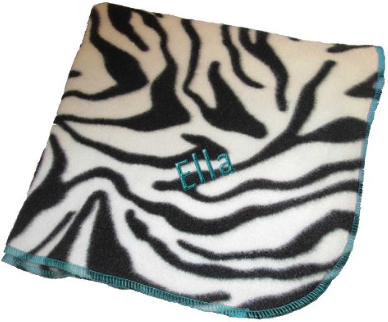 ABaby Personalized Zebra Fleece Blanket, Turquoise, Name Ella