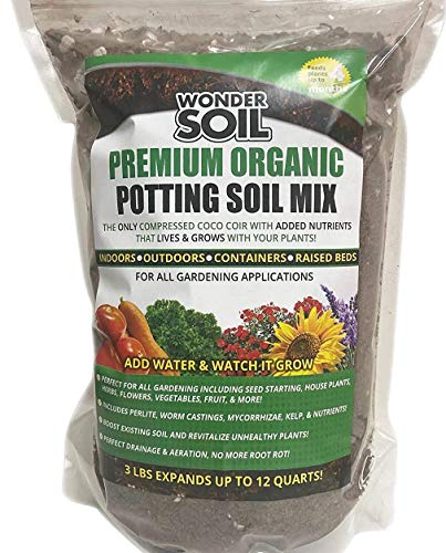 Wonder Soil | Premium Organic Potting Soil Mix. Nutrient Rich Coco Coir Expands 3 Lbs Bag to 12 Quarts of Indoor Outdoor Garden Soil & Top Soil for Plants. Incl Worm Castings, Mycorrhizae, Perlite.