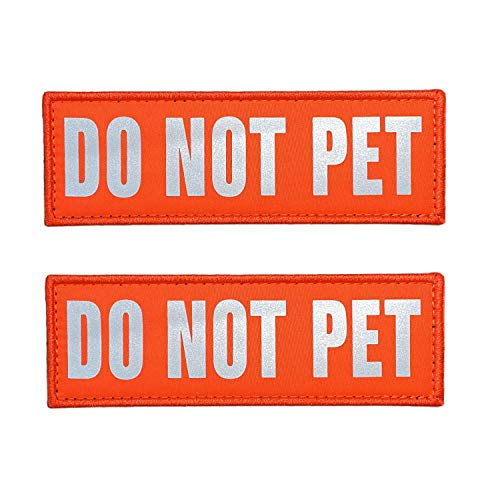 JUJUPUPS Orange Reflective Dog Patches 2 Pack Service Dog,in Training,DO NOT PET,Patches with Hook and Iron On Loop for Vests and Harnesses (DO NOT PET, 6x2 inch)