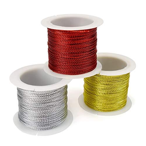 ZIIYAN 3 Spools Set Metallic Cord Tinsel Gift Tags String Hang Tags Rope Craft Making Cord, 20m / 66ft Per Spool, Gold Silver and Red