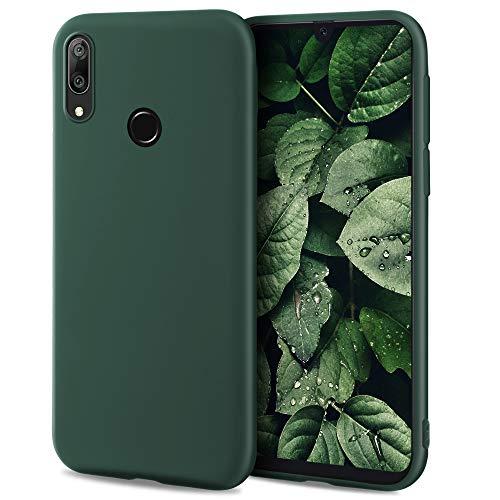 Moozy Minimalist Series Funda Silicona para Huawei Y7 2019, Verde Oscuro con Acabado Mate, Cover Carcasa de TPU Suave y Fina