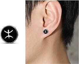 Fashion 12 Constellations Zodiac Black Round Enamel Stud Earrings for Girls Boys Birthday Gifts