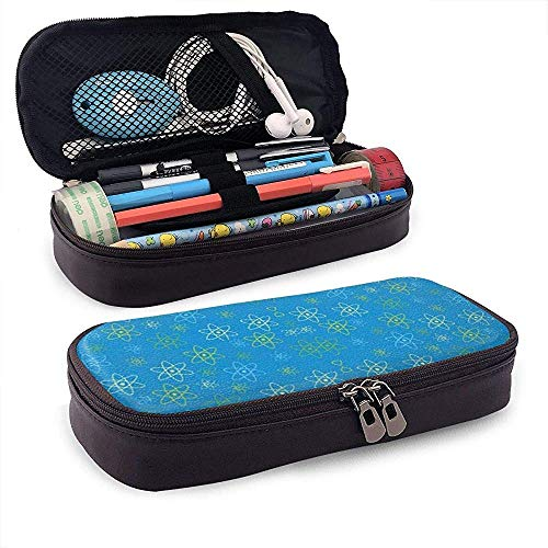 HFHY Atomic Science Pencil Case - High Capacity PU Leather Pencil Pouch Stationery Organizer Cosmetic Makeup Bag