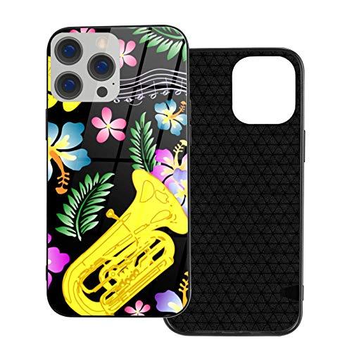 Caja del teléfono Flor Instrumentos Musicales Cubierta del teléfono para iPhone 12/12 Mini / 12 Pro / 12 Pro MAX Cubierta Trasera de Vidrio Templado + TPU para iPhone 12 Pro-6.1 Pulgadas