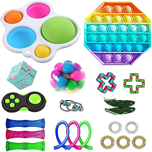 Yaxinglinan 21pcs Fidget Toys Set Push Pop Bubble Sensory Toys Stress Relief and Anti-Anxiety Toys for Kids Adults ADHD ADD Anxiety Autism Decompression Cheap Sensory Toys Pack for Kids Adults(Color)