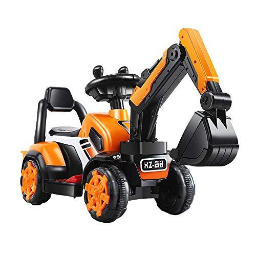 Lotee Coche eléctrico Excavadora eléctrica for niños Bulldozer Can Ride Excavadora eléctrica Máquina Niño Juguete Paseo en coche en excavadora amarilla Vehículo de ingeniería Scooter Juguete Regalos f