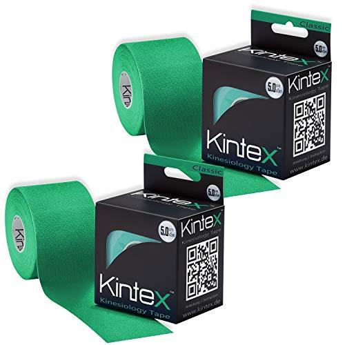 Kintex Grün 2 Rollen Kinesiologie Classic 5cm x5m, Physio, Therapie-Tape, 5m x
