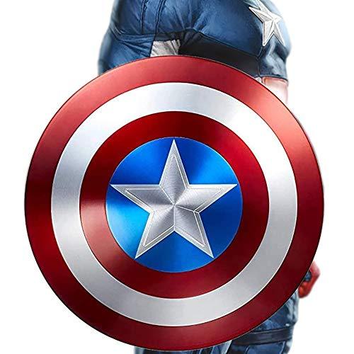 COKECO Scudo di Capitan America Adulto/Bambino 1: 1 Modello in Lega Avengers Versione Cinematografica Portatile Giocattolo di Ruolo di Supereroi Captain America Shield Metal, 47 Cm